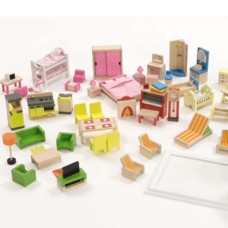 Buy small world dolls house furniture set 40pcs tts Dolls wooden furniture