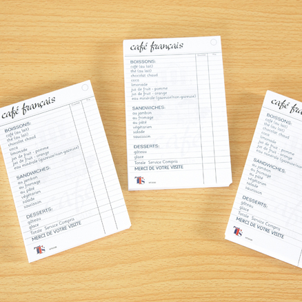 French Café Role Play Waiters Notepads 3pk  large