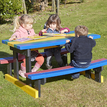 Small Recycled Plastic Rainbow Picnic Bench  medium