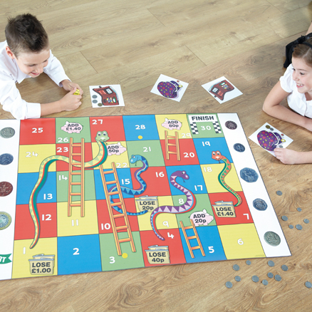Money Snakes And Ladders Vinyl Mat with Cards  large