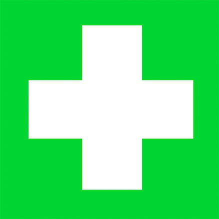 Self Adhesive Green First Aid Sign  large
