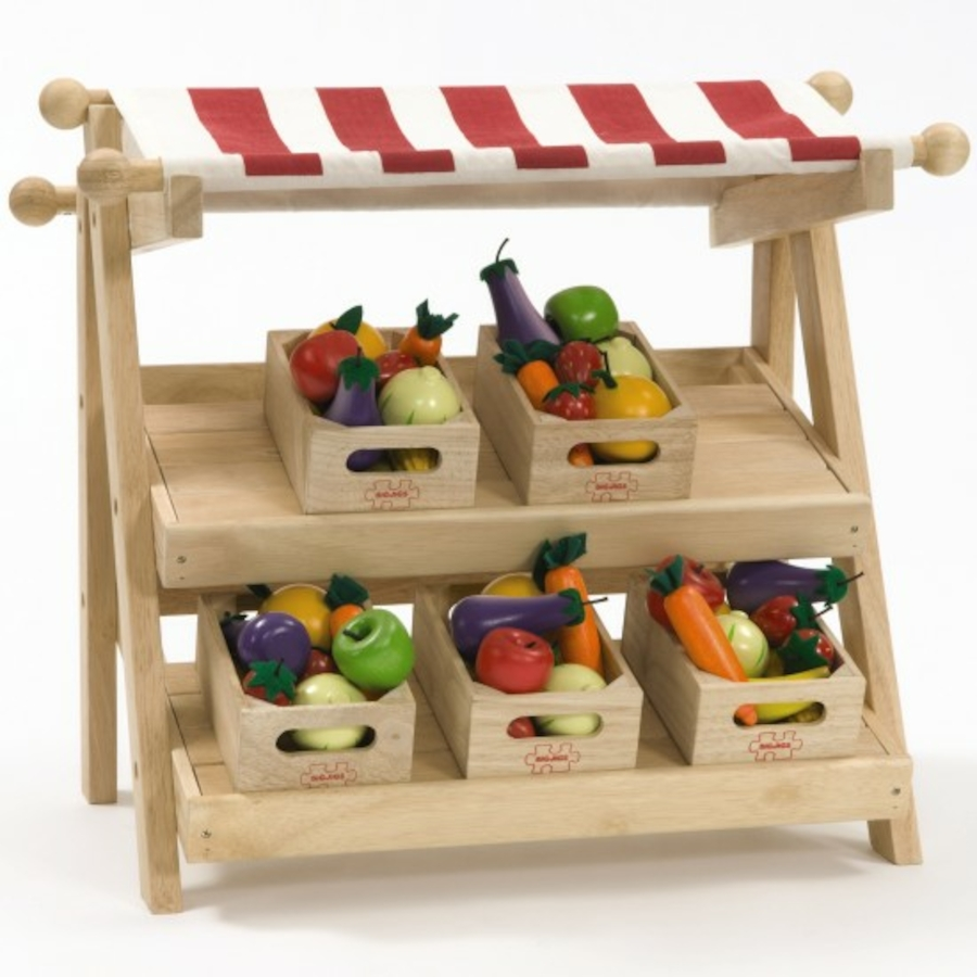 Wooden Play Toys : Buy small wooden role play market stall tts