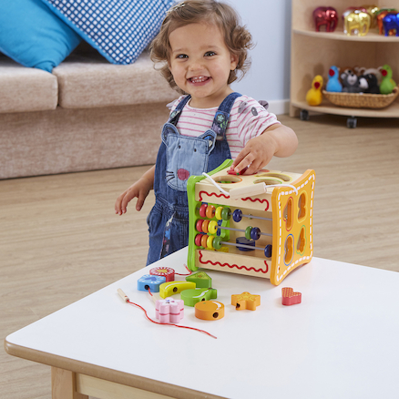 Wooden Multi Activity Manipulative Cube  large
