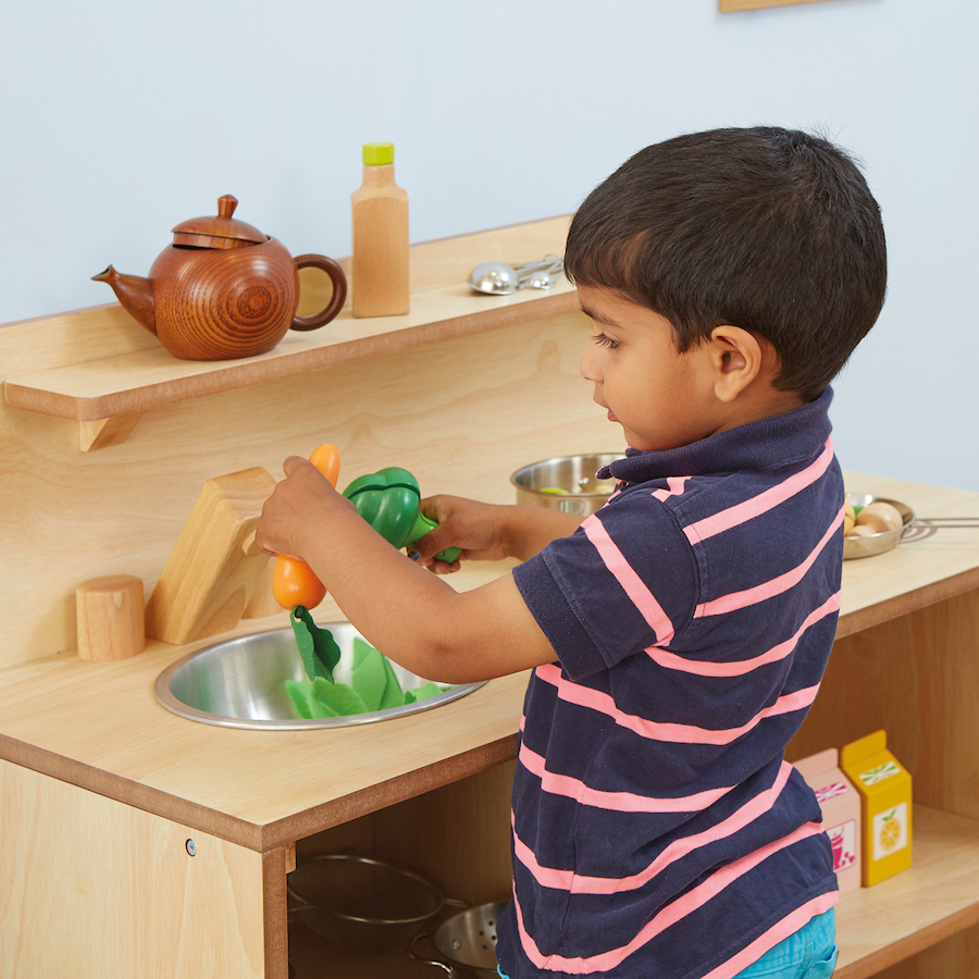 Buy toddler wooden role play kitchen unit tts for Small childrens kitchen