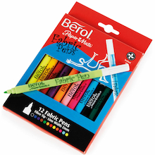 Berol Assorted Fabric Pens 12pk  medium