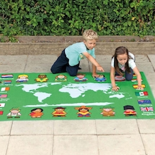 Children of the World Outdoor Map Floor Mat  medium