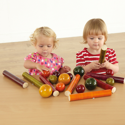 Wooden Cylinders and Balls for Babies 20pk  large