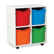 White Tray Storage Unit With 4 Jumbo Trays  medium
