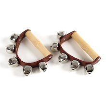 Jingle Percussion Bells On Leather Strap Pair  medium