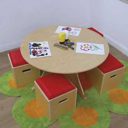 Circular Table With 4 Stools  large