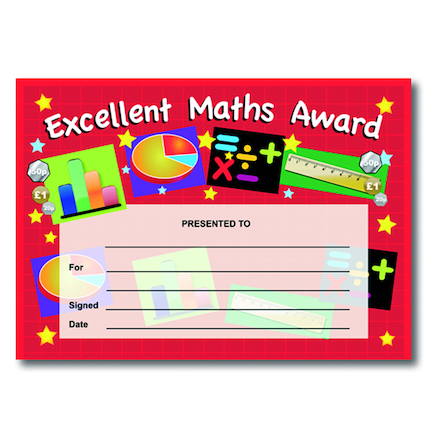 Excellent Maths Certificates 40pk  large