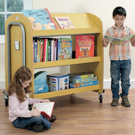 Double Sided Library Trolley with Display Shelf  large