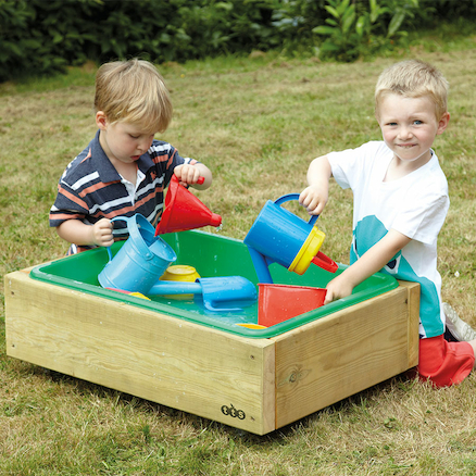 Outdoor Wooden Sand and Water Wheelie Box  large