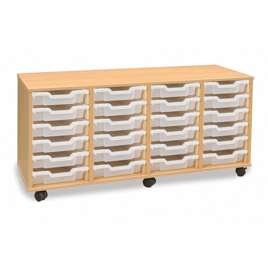 Buy mobile storage unit with 24 shallow trays 4x6 tts for Shallow shelving unit