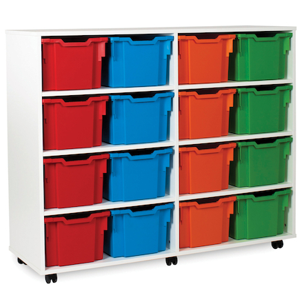 White Tray Storage Unit With 16 Extra Deep Trays  large