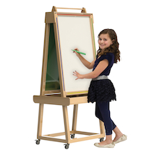 Wooden Easel with Chalkboard and Whiteboard  medium