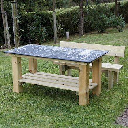 Outdoor Rectangular Chalkboard Table and Benches  large