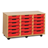 Mobile Tray Storage Unit With 18 Shallow Trays  small