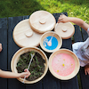 Natural Wooden Bowls with Lids 3pcs  small