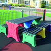 Recycled Plastic Coloured Table and Benches Set  small