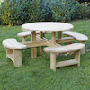Outdoor Round Wooden Picnic Bench  small
