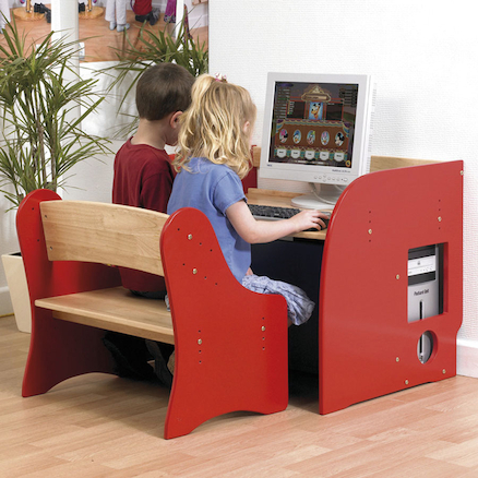 Childs First Computer Desk and Two Seater Bench  large