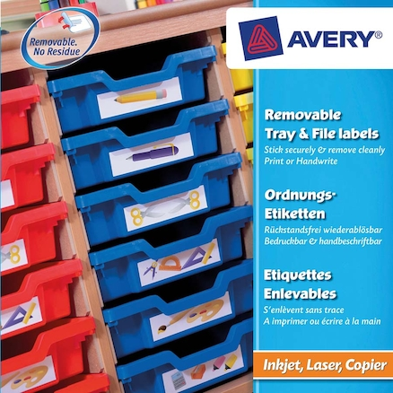 Removable Tray and File Labels 155 x 355mm 8pk  large