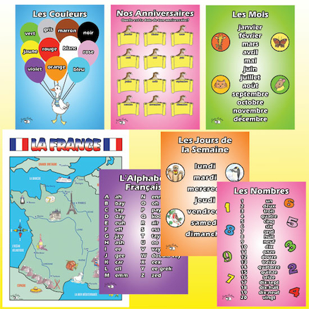 French Vocabulary Beginners A3 Posters 7pk  large