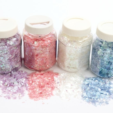 Assorted Iridescent Collage Flakes 4pk  large