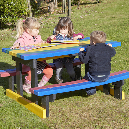 Small Recycled Plastic Rainbow Picnic Bench  large
