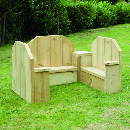 Outdoor Wooden Adjoining Chairs 3pk  large