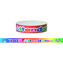 100% Attendance Wristbands 60pk  medium