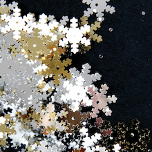 Silver, Gold and White Snowflake Sequins 70g  medium