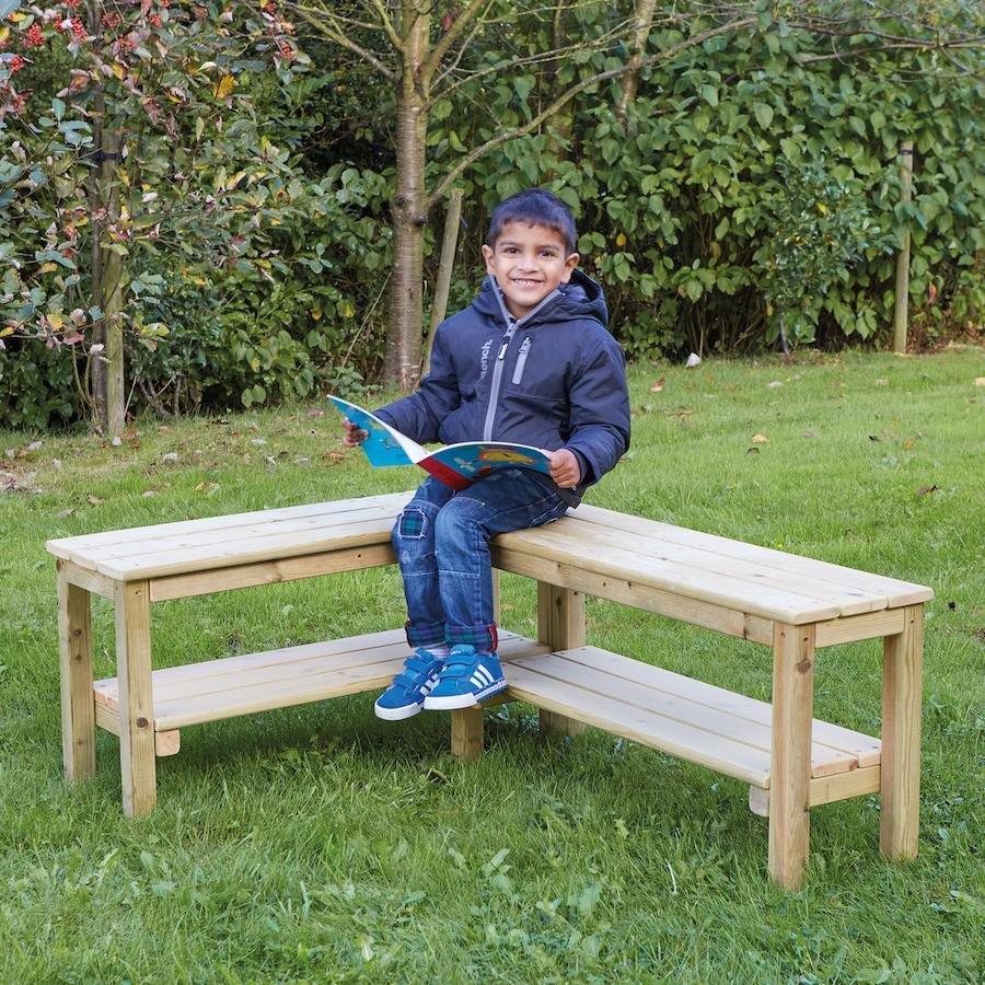 buy outdoor wooden l shaped bench tts. Black Bedroom Furniture Sets. Home Design Ideas