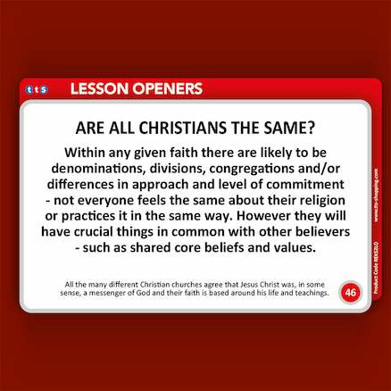 Christianity Lesson Opener Activity Cards   large