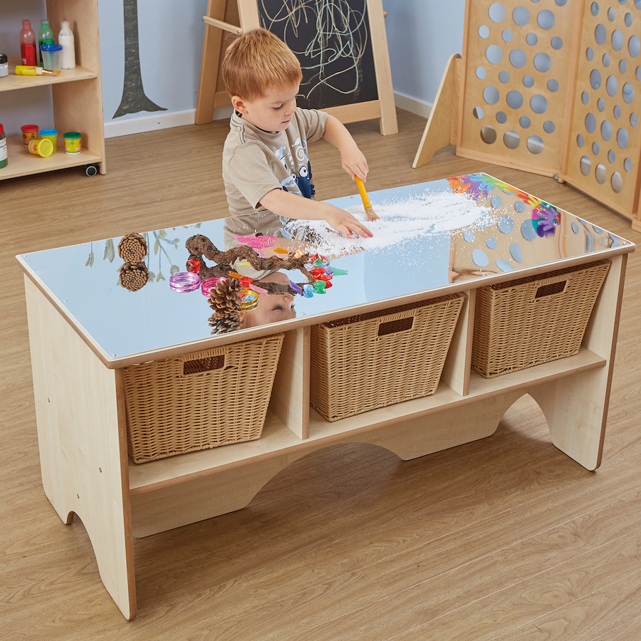 Toddler Mirror Activity Table With Shelves