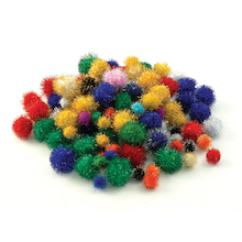 Craft Glitter Pom Poms 100pk  medium