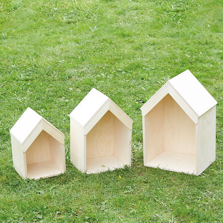 Nesting Wooden Small World Houses 3pk  large