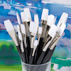 Black Handled Flat White Nylon Paint Brushes 30pk  small