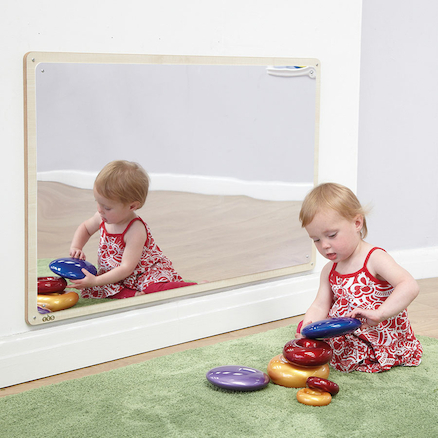 Wooden Framed Toddler Mirror 106 x 66cm  large