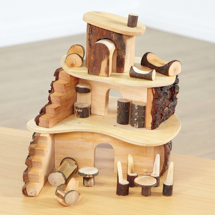 Wooden Small World Fairy Tree House Set  large