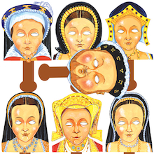 Henry VIII and His Wives Role Play Face Masks 7pk  medium