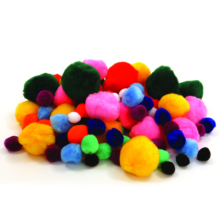Buy assorted craft pom poms 100pk tts for Crafts to make with pom poms