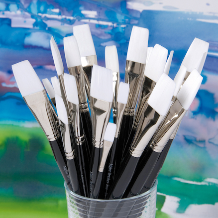 Black Handled Flat White Nylon Paint Brushes 30pk  large