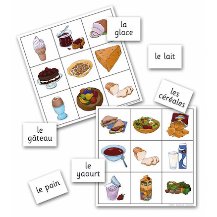 Food and Drink French Vocabulary Bingo Game  large