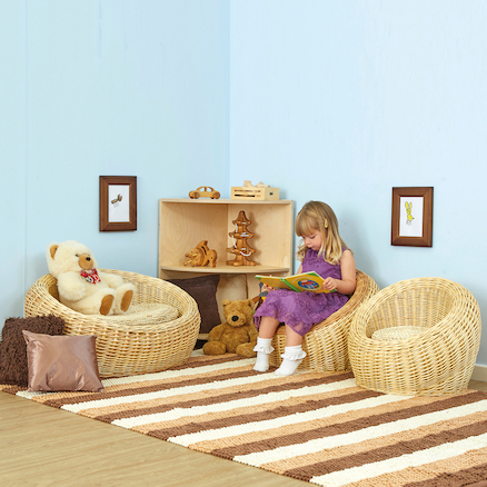 Three Piece Wicker Sofa and Chairs Set  large