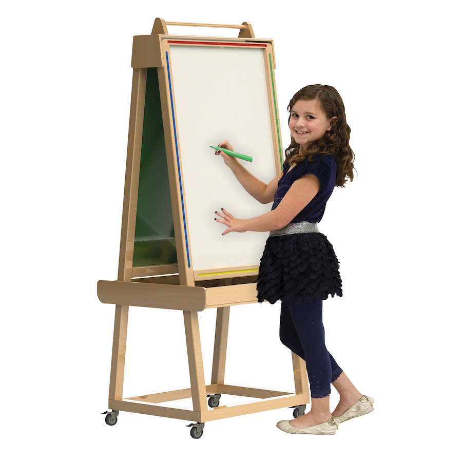 Buy Wooden Easel With Chalkboard And Whiteboard Tts