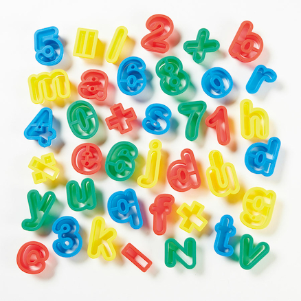 Letters And Numbers Plastic Dough Cutters 39pk  large