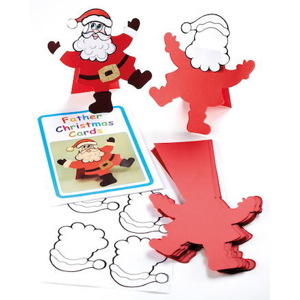 Precut Father Christmas Cards 30pk  large