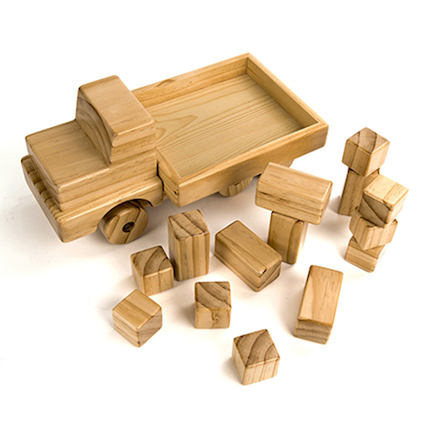 Giant Wooden Truck with Building Blocks  large